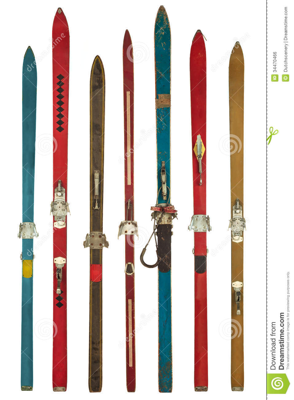 Vintage Colorful Used Skis Isolated On White Royalty Free