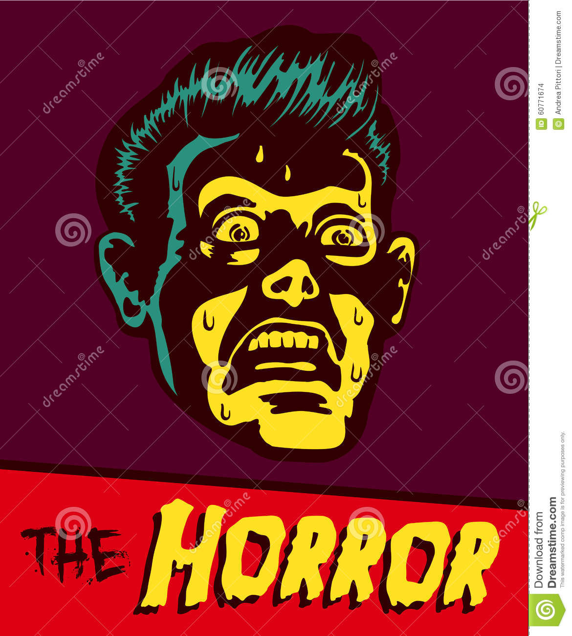 Vintage Comic Book Illustration Terrified Man Face Stock Vector ...
