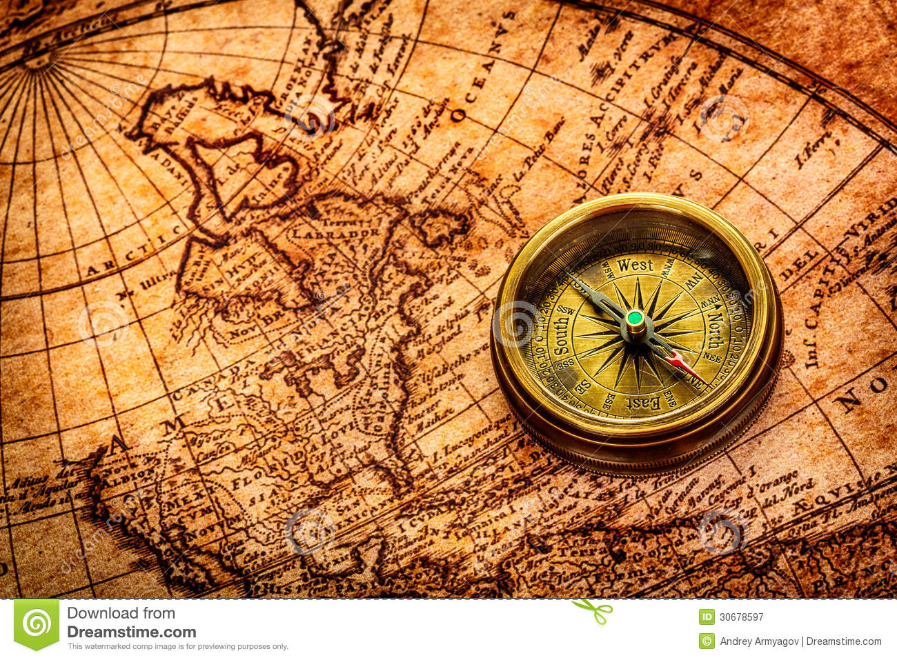 Vintage Compass Lies On An Ancient World Map. Stock Image