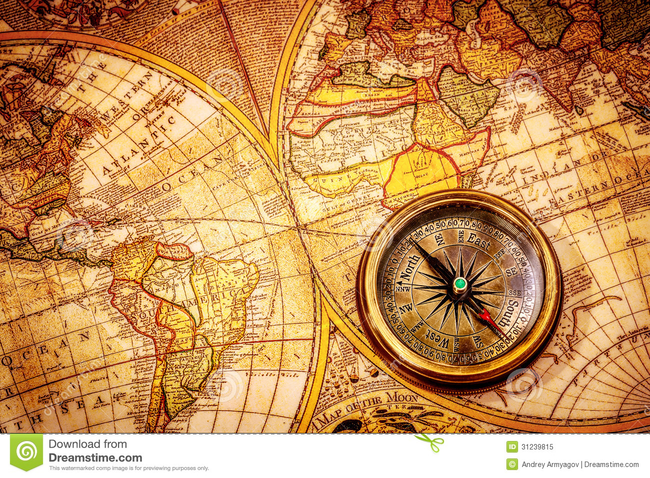 Vintage compass lies on an ancient world map stock image image of vintage compass lies on an ancient world map grunge navigate gumiabroncs Images