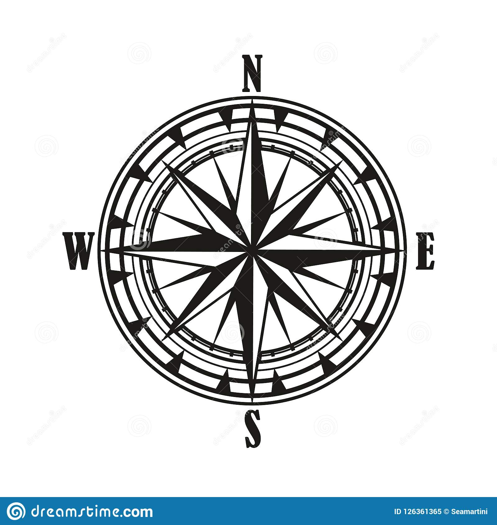 Compass Rose Diagram Vintage Wind Icon Stock Illustration 1600x1690