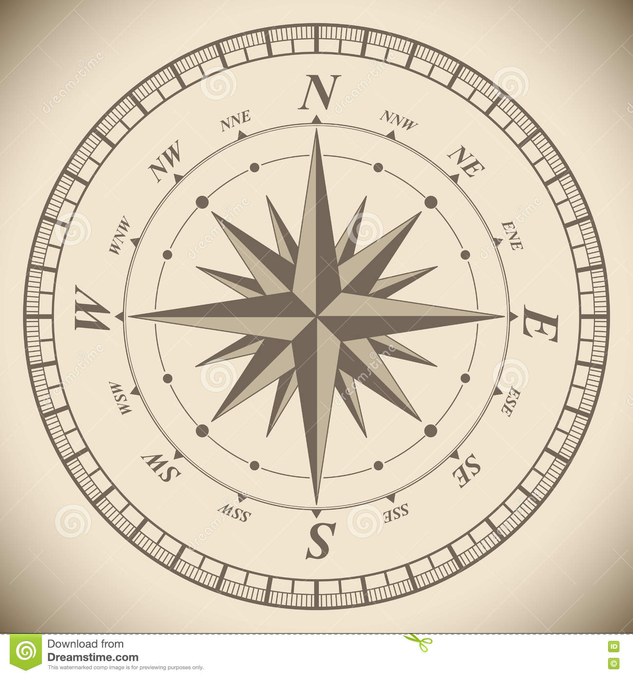 Vintage Compass Wind Rose Template Stock Vector Illustration Of