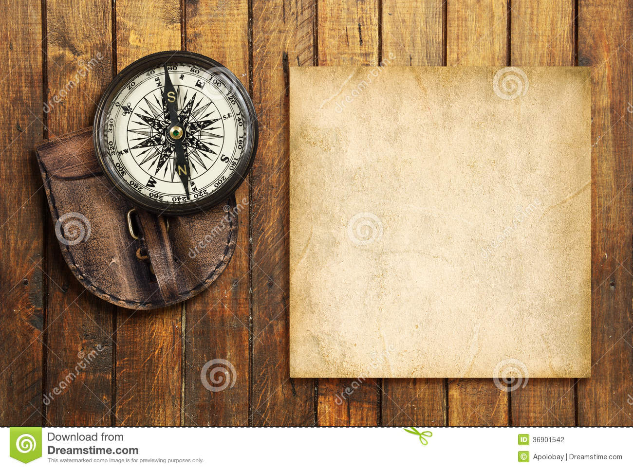 vintage compass on the wooden background with the blank