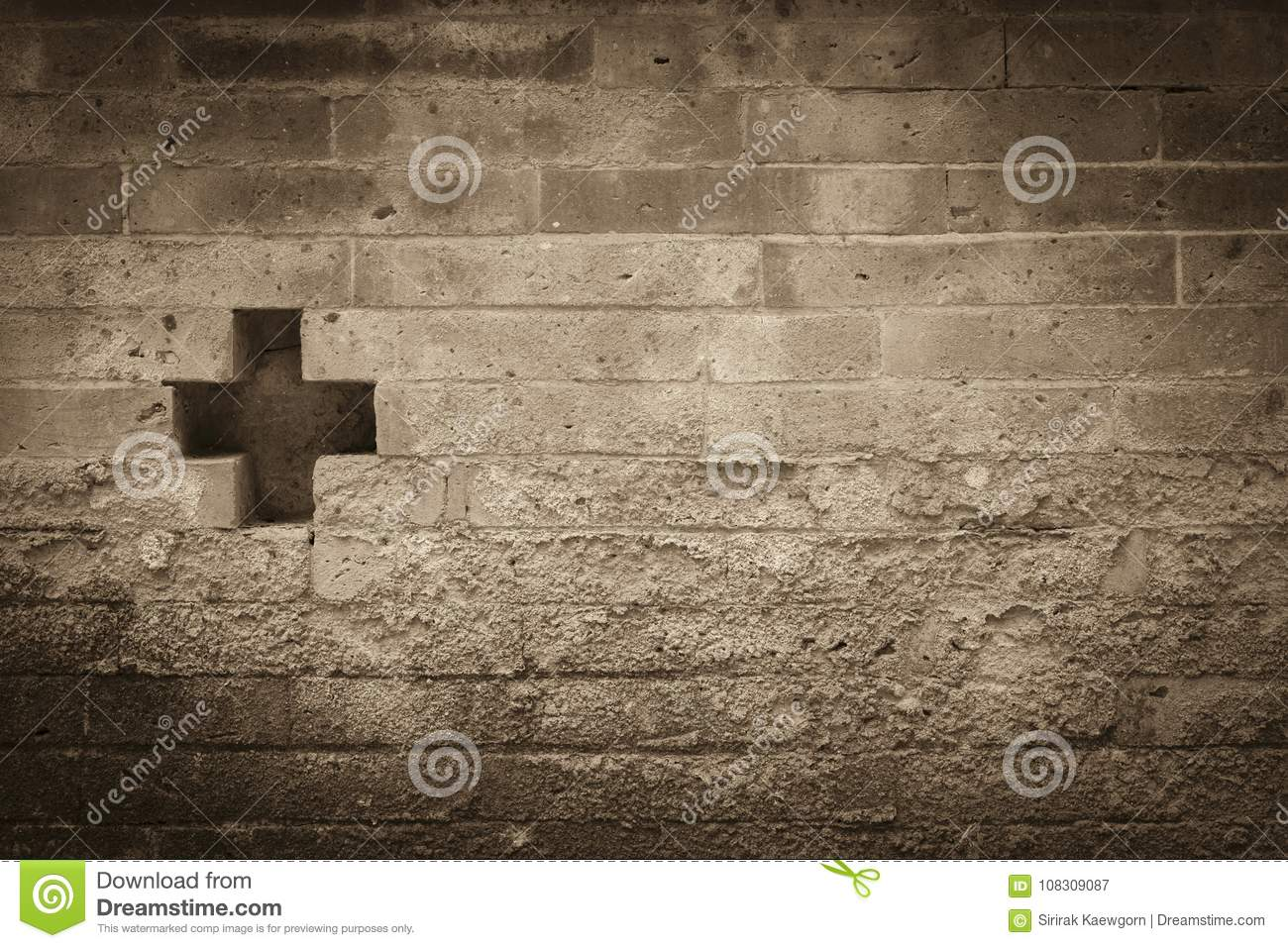 Vintage Concept Background Of Cross Symbol On Old Brick Wall
