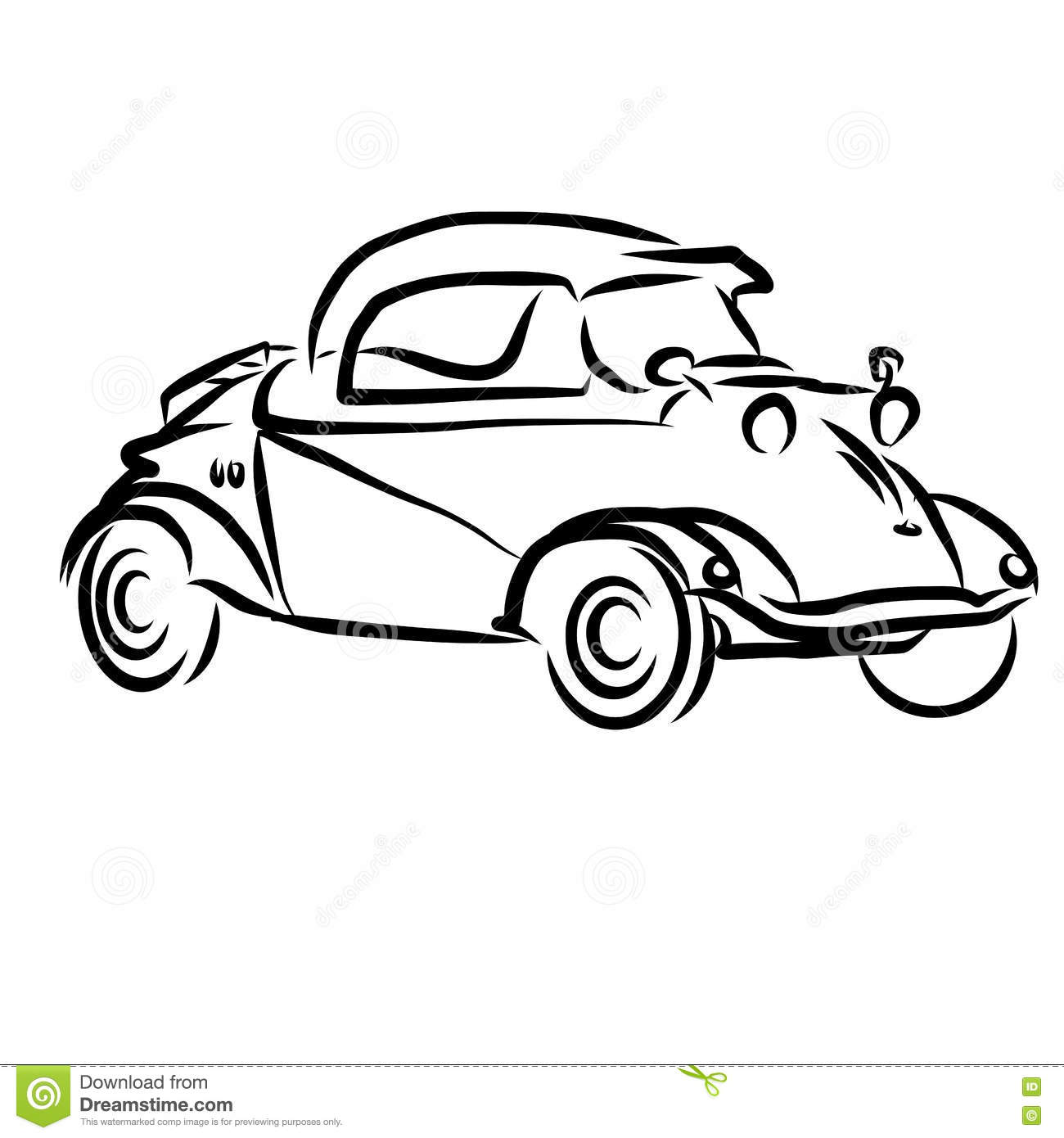 Vintage car outline vector 13