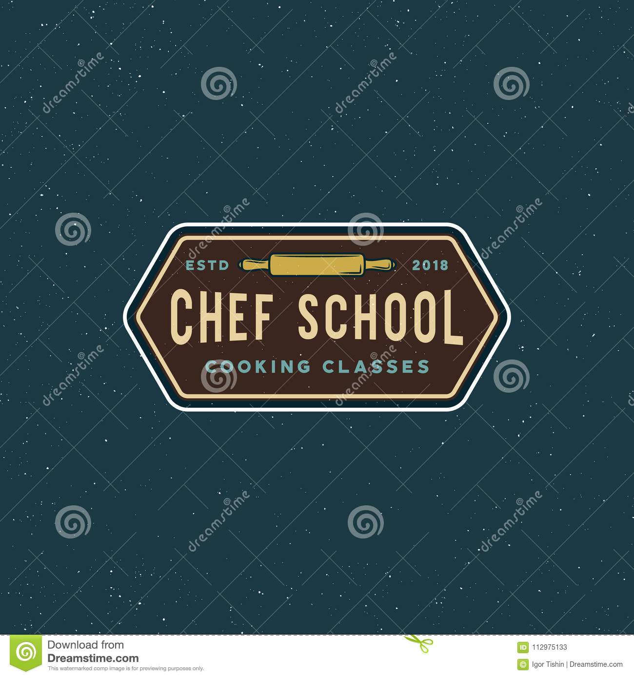 Vintage cooking classes logo. retro styled culinary school emblem. vector illustration