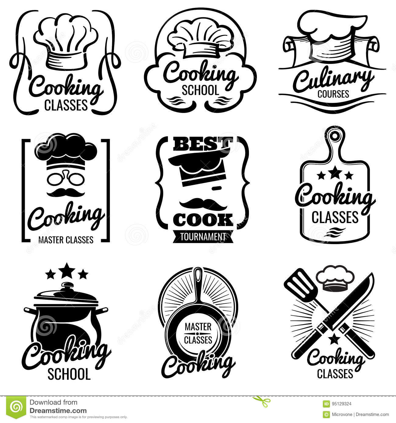 Vintage cooking in kitchen classes vector silhouette labels cook royalty free vector download m4hsunfo Gallery