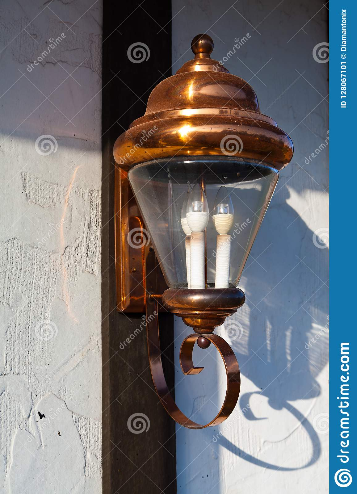 Vintage Copper Light On House Wall Stock Image Image Of Country Illumination 128067101
