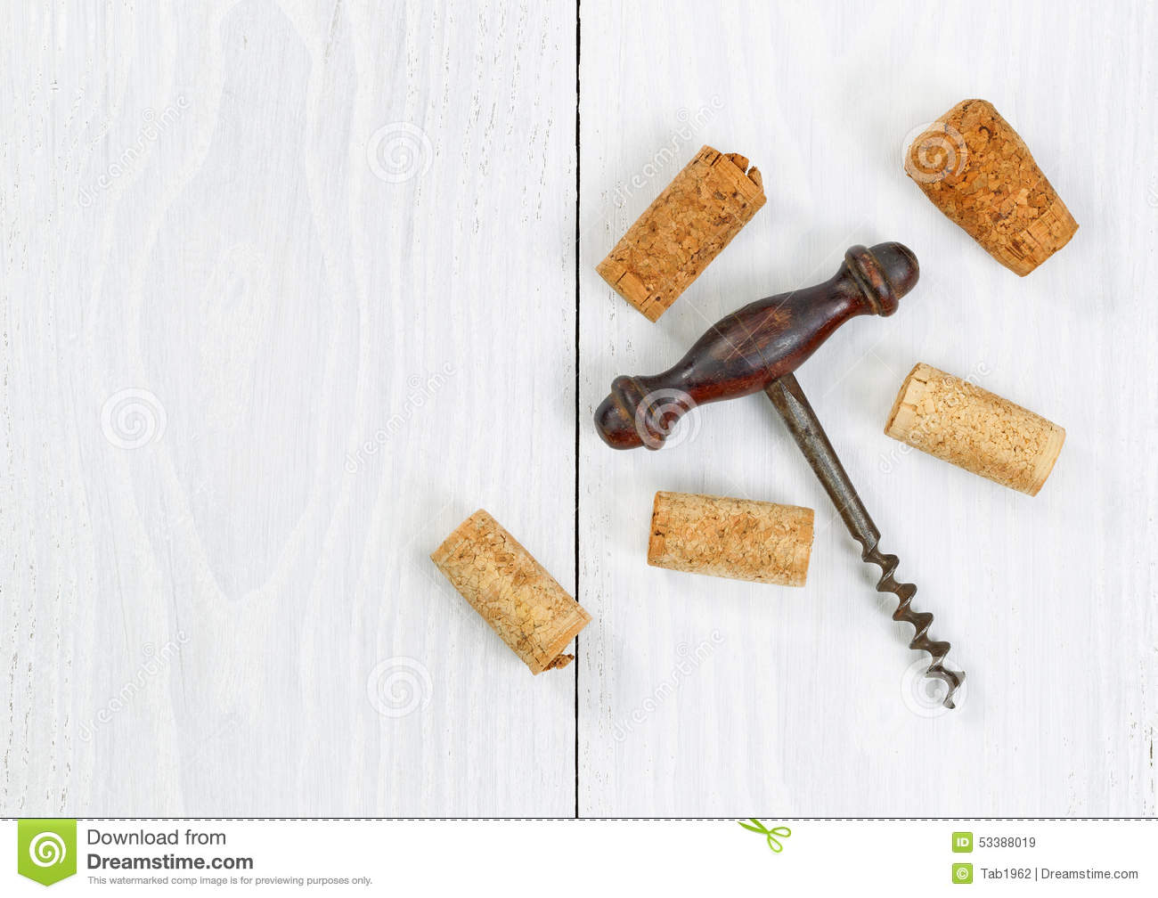 Vintage Corkscrew With Old Corks On White Wooden Boards Stock Photo - Image: 53388019