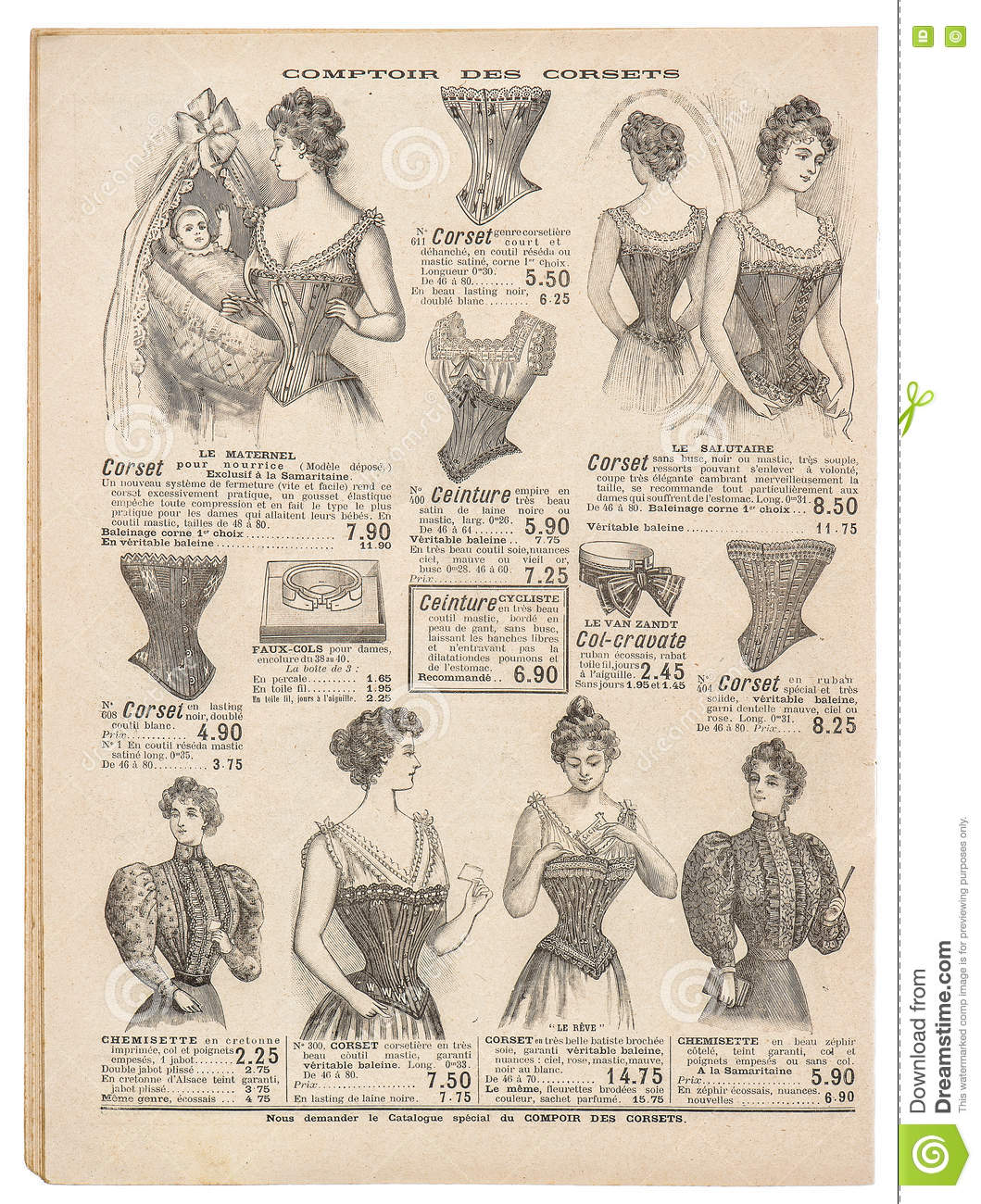 Vintage Corset Antique Engraved Picture Fashion Shopping Paris
