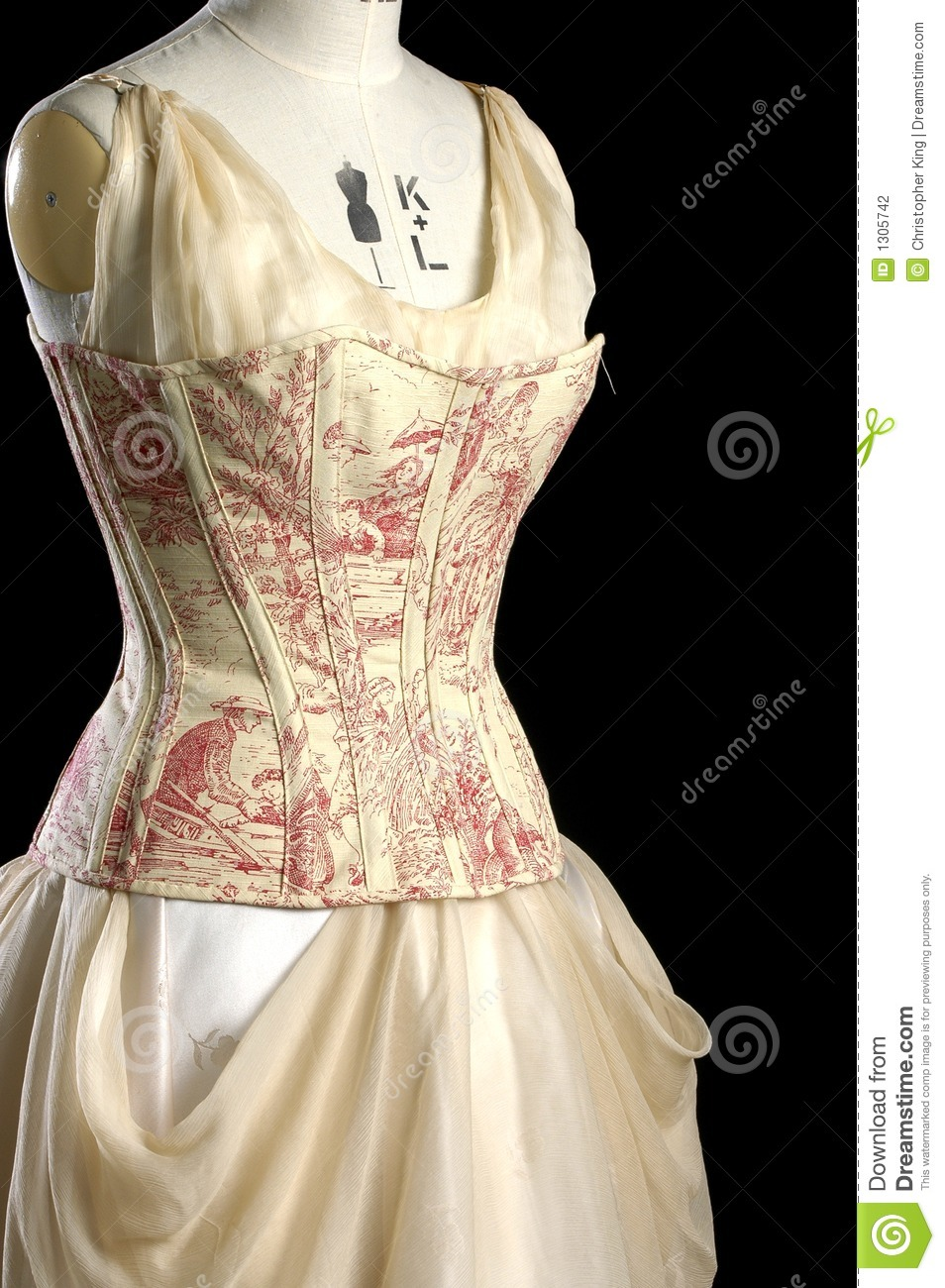 vintage corset and dress on a models dummy stock photo