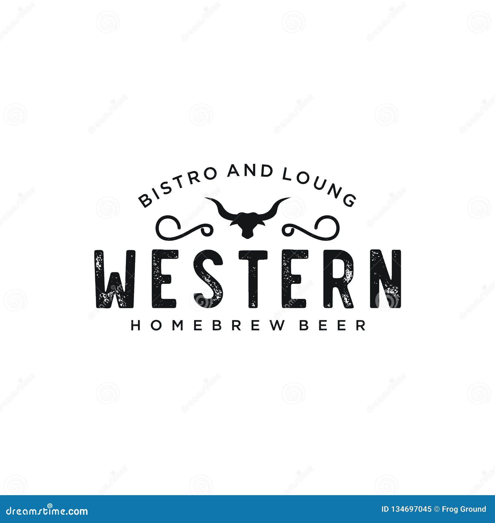 Vintage Country Emblem Typography For Western Bar Restaurant Logo Design Inspiration Vector Stock Vector Illustration Of Design Clean 134697045