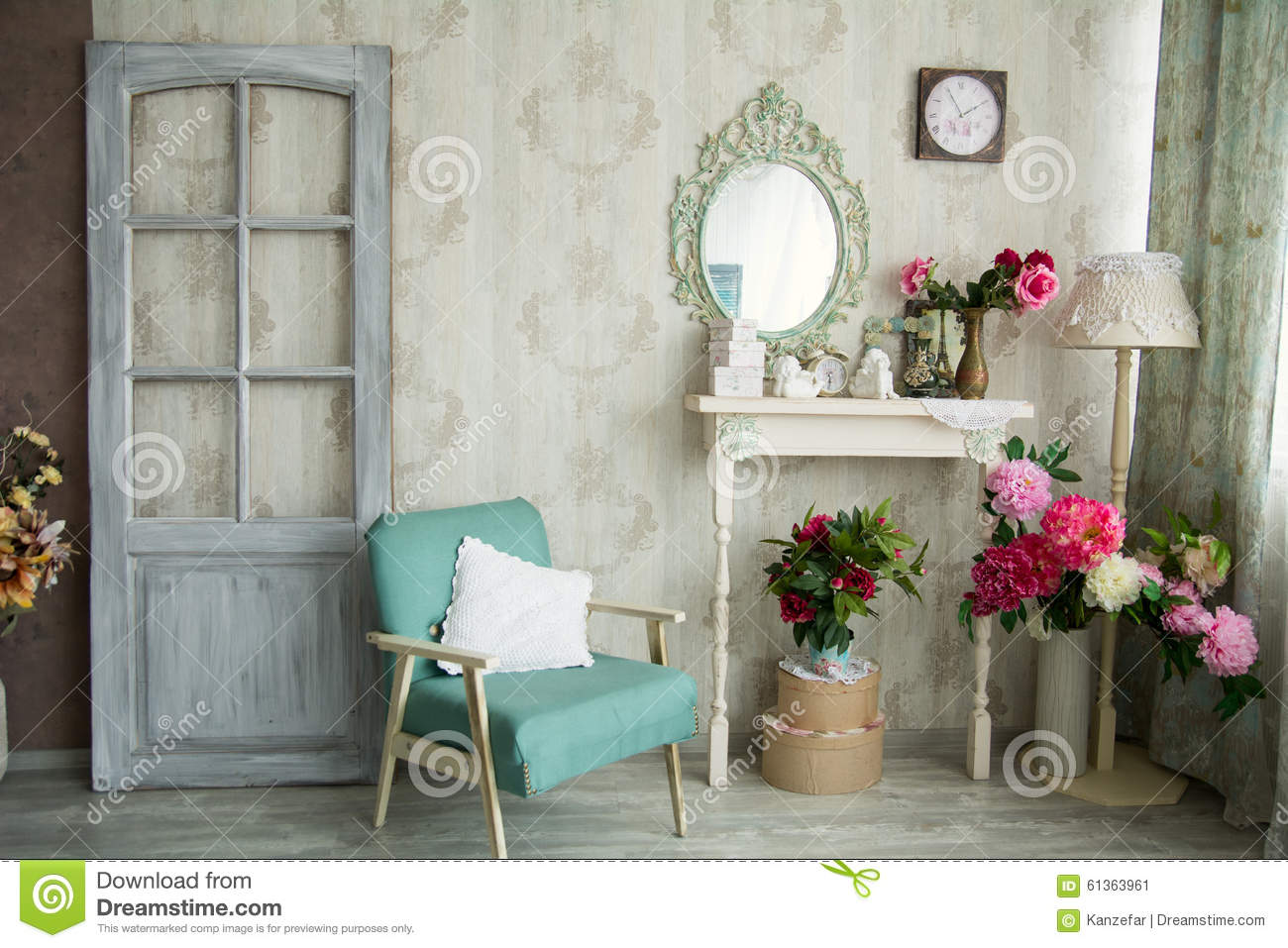 vintage country house interior with mirror and a table with a va stock image image 61363961. Black Bedroom Furniture Sets. Home Design Ideas