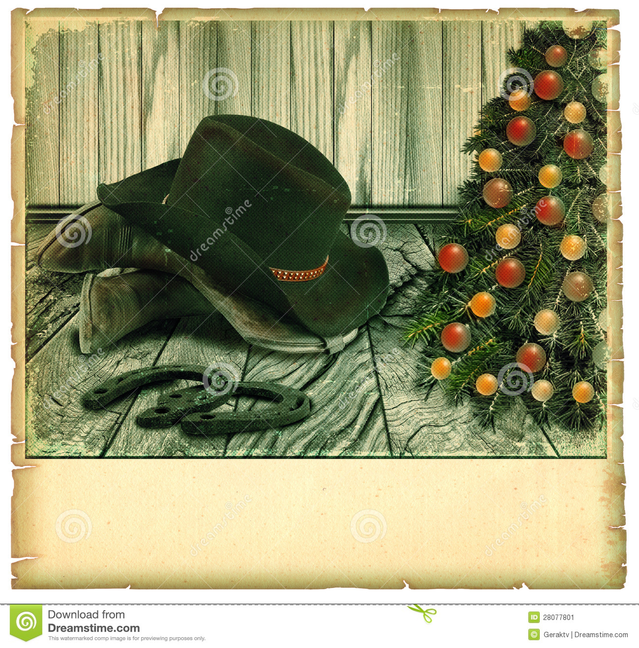 Vintage Cowboy Christmas Card.American Background Stock Image ...