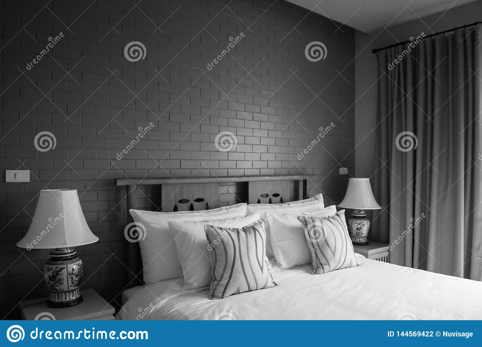Vintage Cozy Country Home Bedroom Decoration With Classic Dark Grey Brick Wall Editorial Photography Image Of Comfortable Asian 144569422