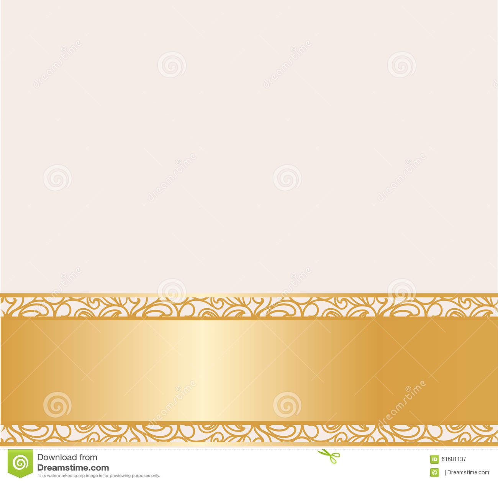 Vintage Cream Lace Card Golden Stock Illustration