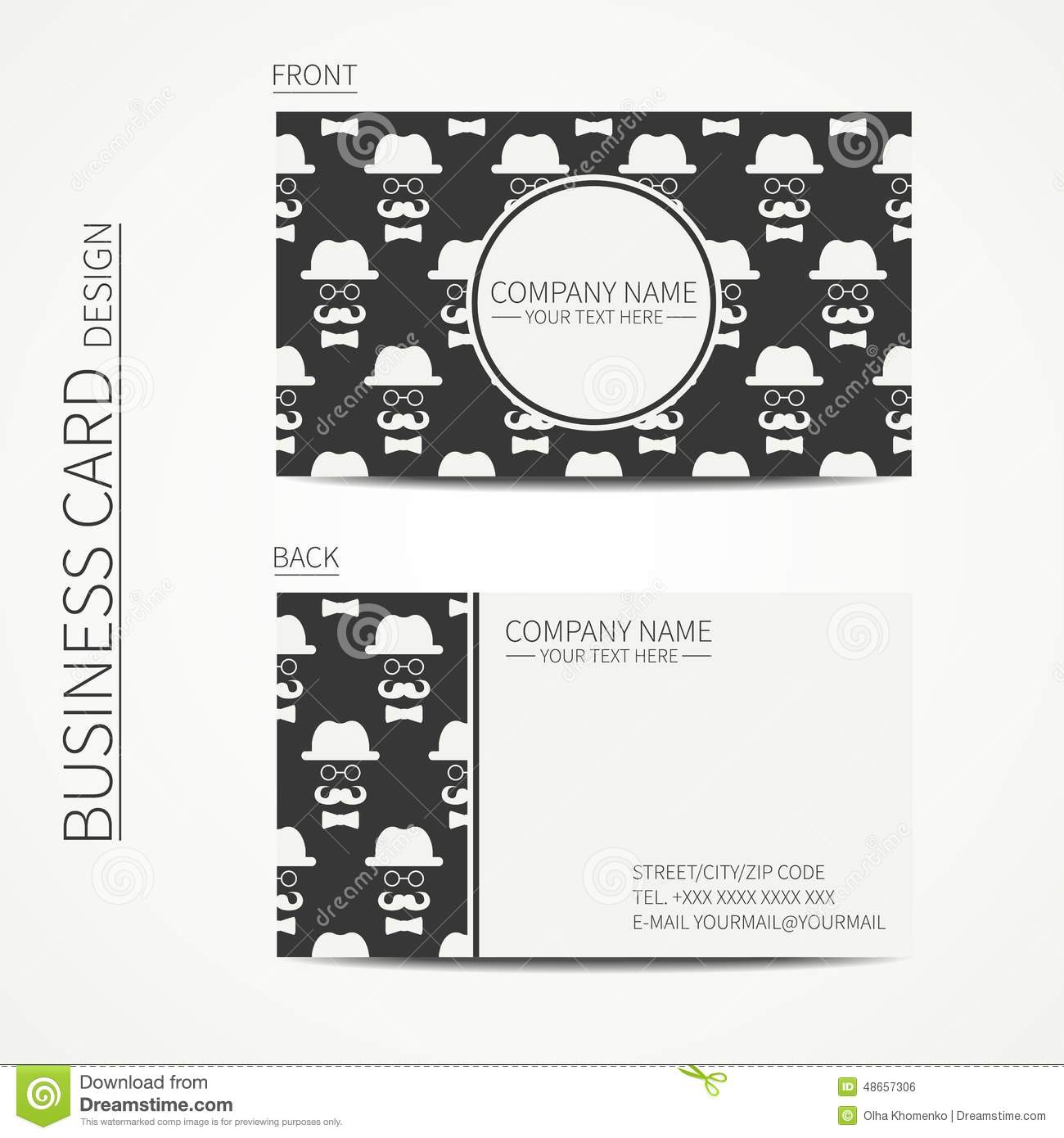 queue cards template - vintage creative simple business card template stock