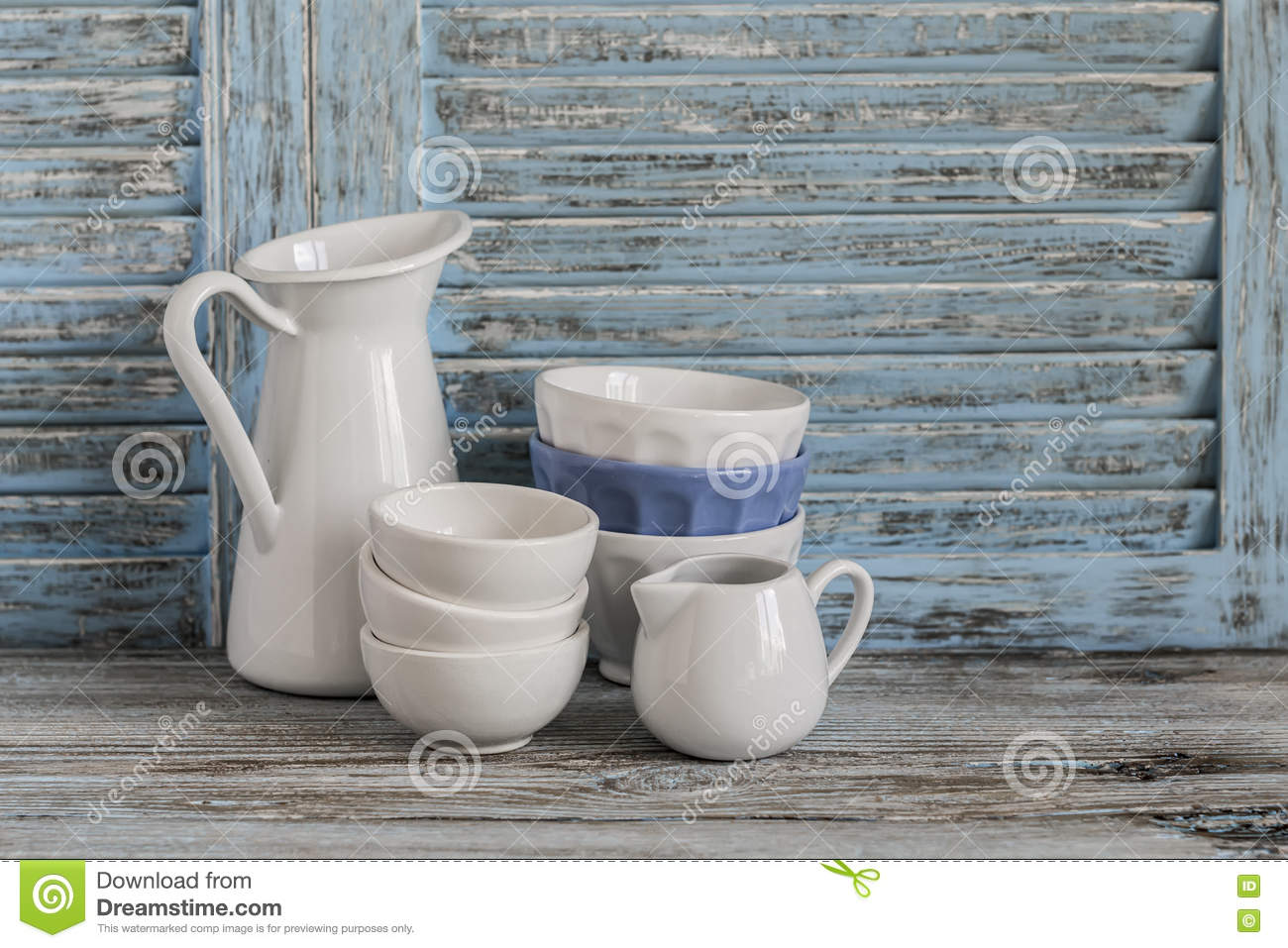 Vintage Crockery On A Light Wooden Background. Kitchen Still Life ...