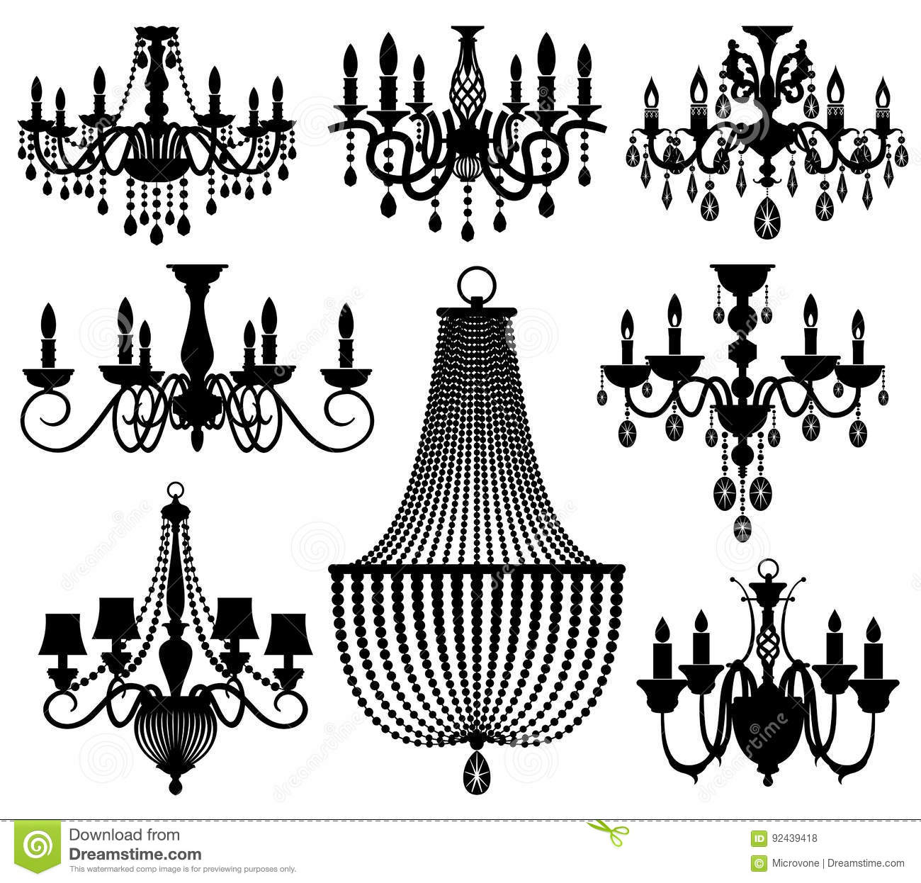 Vintage Crystal Chandeliers Vector Silhouettes Isolated On