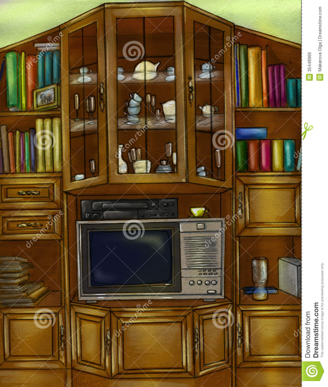 Vintage furniture consisting of cupboard and bookcase, with a place ...