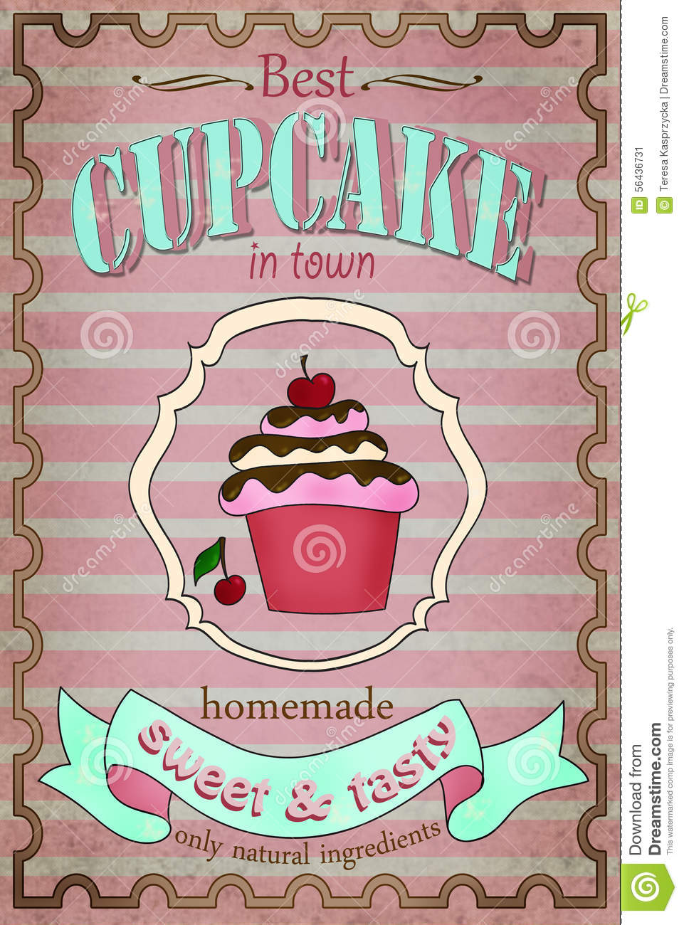 Vintage Cupcake Poster Design Stock Illustration ...