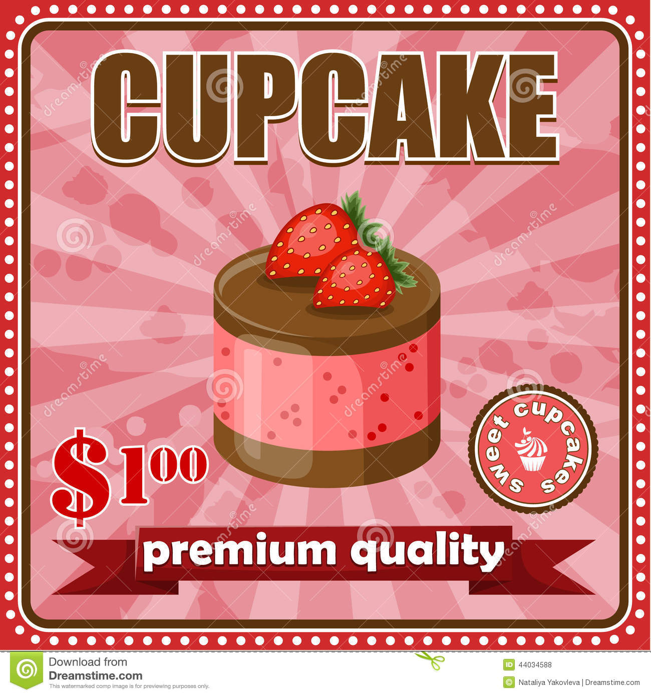 Vintage Cupcake Poster. Stock Vector - Image: 44244730