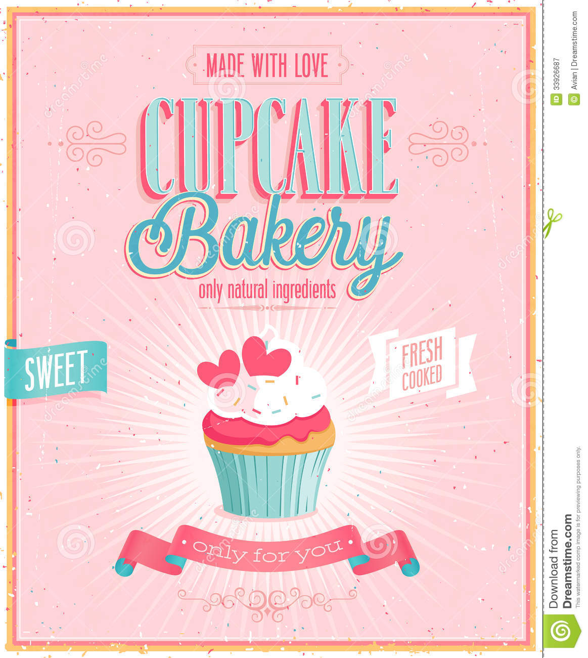 Vintage Cupcake Poster. Royalty Free Stock Photography - Image ...
