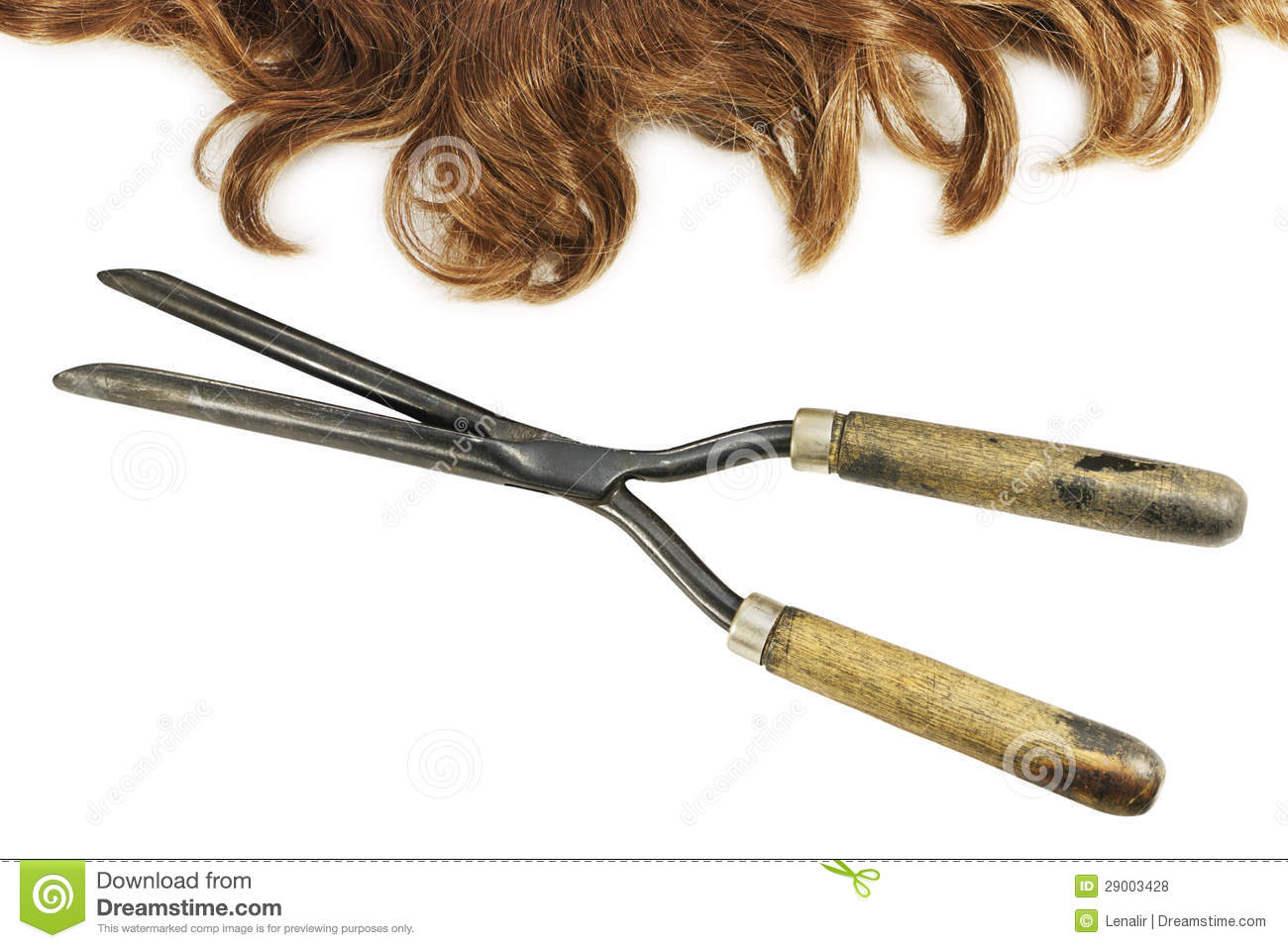 Vintage Curling Tongs And Waved Hair Stock Photo Image