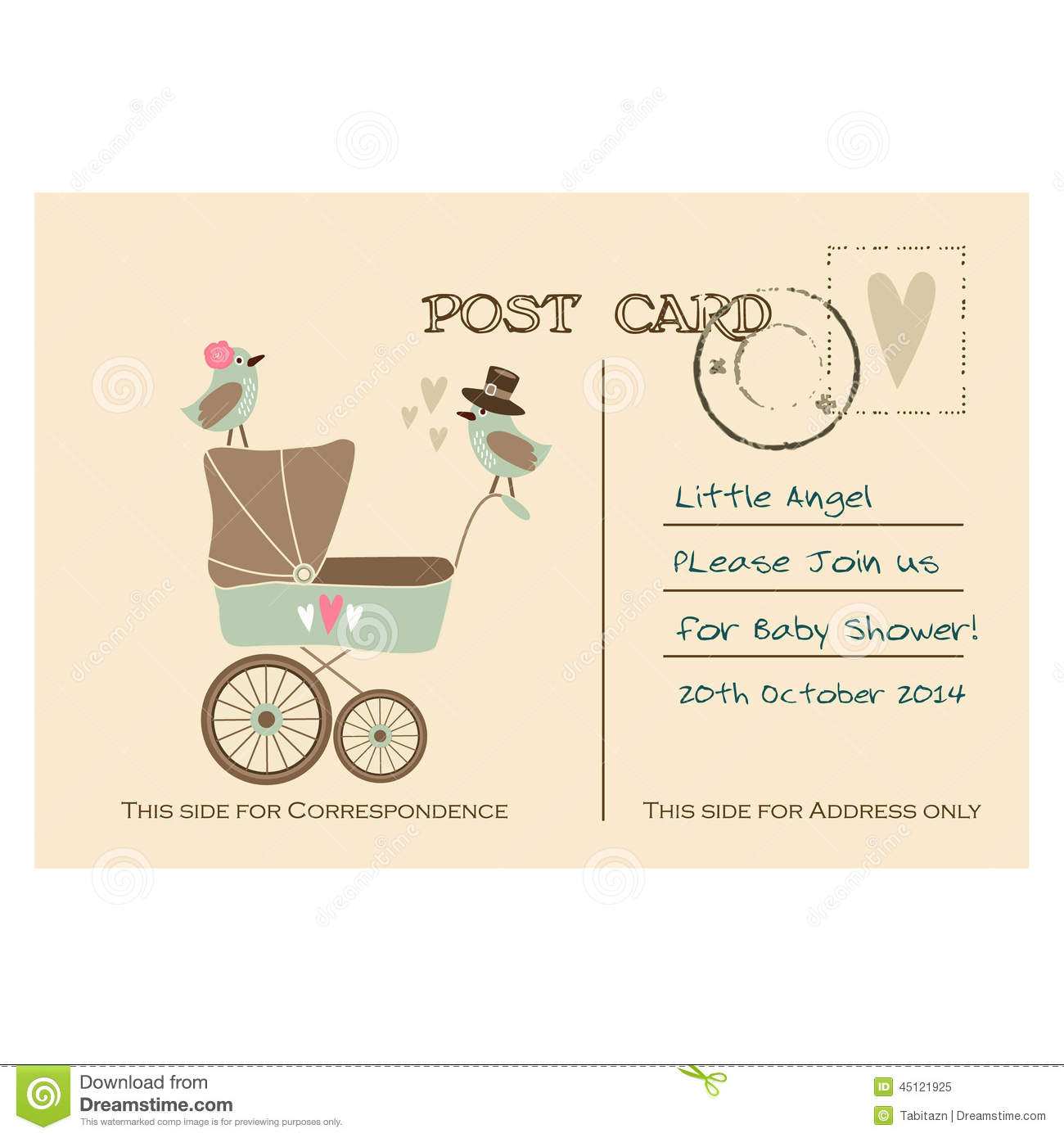 vintage cute baby shower greeting postcard invitation royalty free stock photo