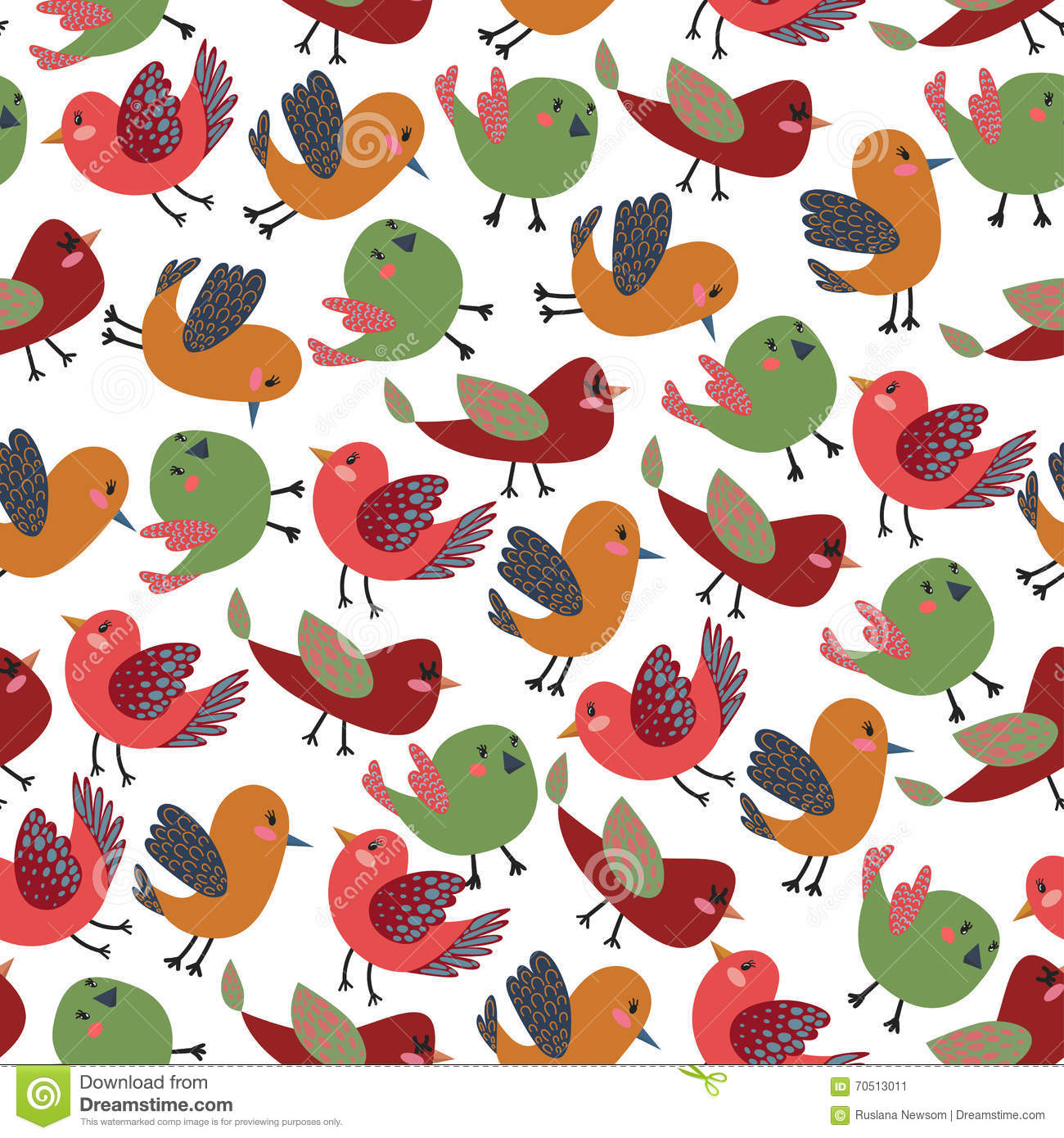 70e825c478a Colorful Vintage Cute Birds Vector Seamless Pattern with Colorful Vector  Birds for T-Shirt Prints