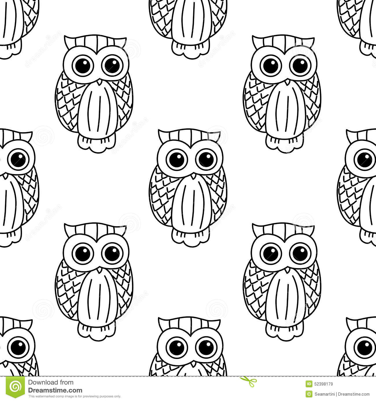 Vintage Cute Black Owls Seamless Pattern Stock Vector Illustration