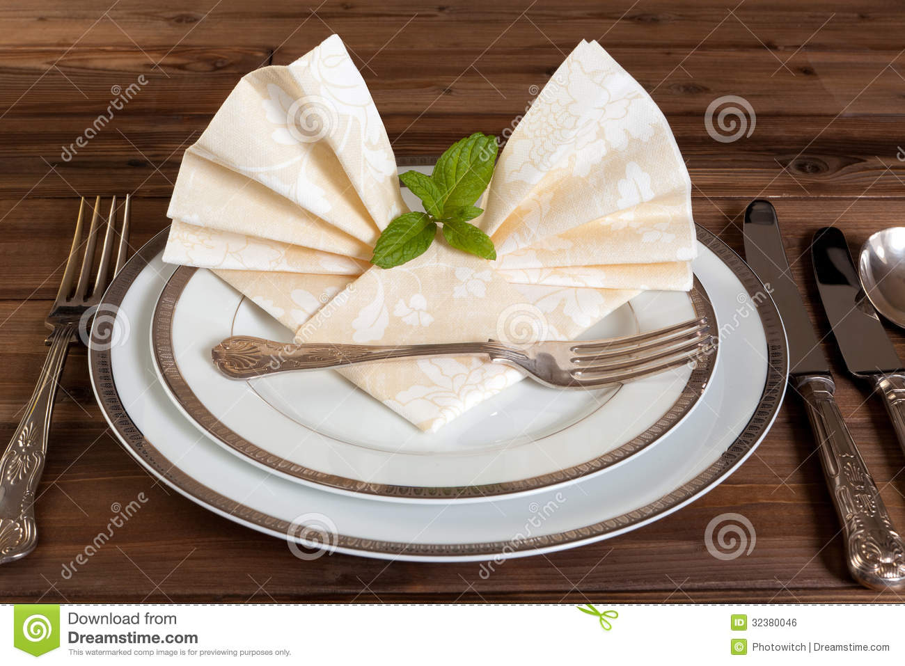 Vintage Cutlery And Fancy Napkins Royalty Free Stock Image Image