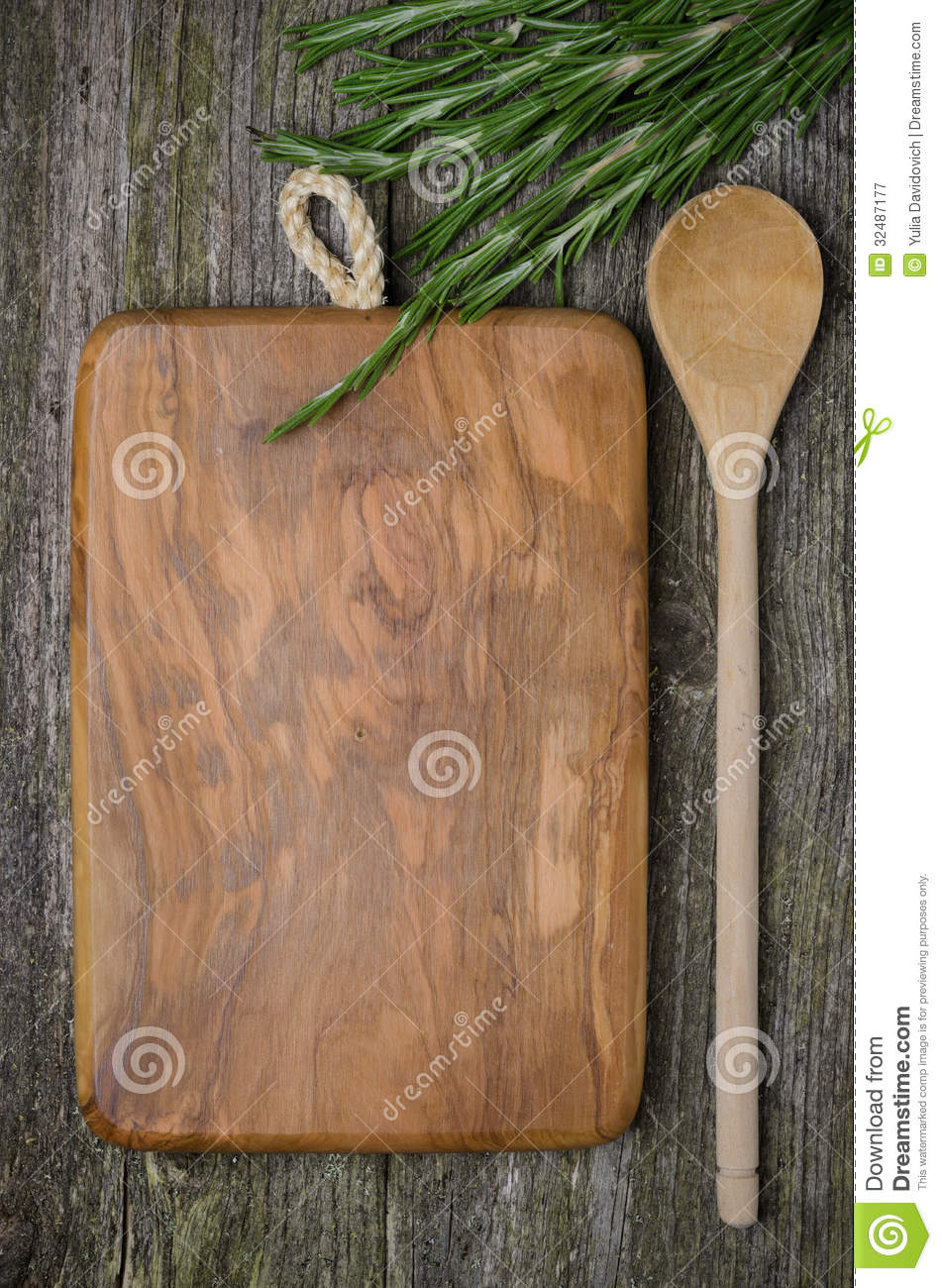 vintage cutting board with space for text  spoon  fresh