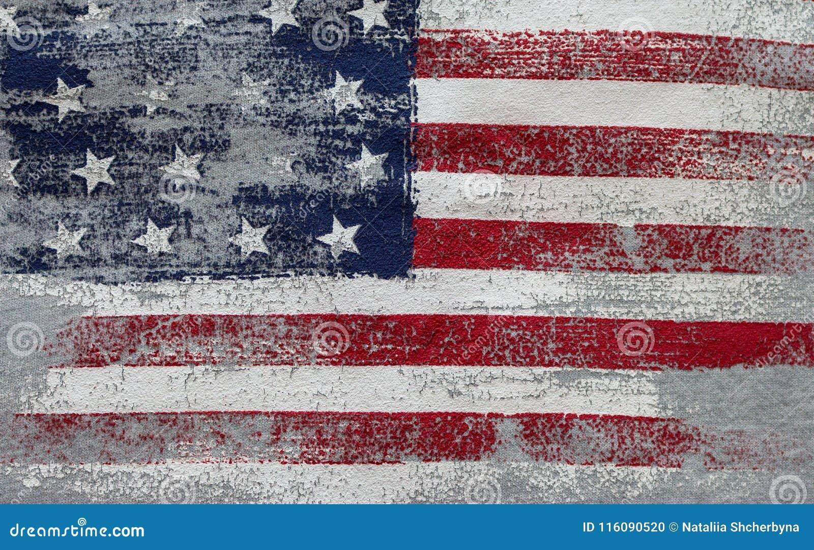 Vintage da bandeira americana Símbolo nacional dos EUA Estrelas e listras