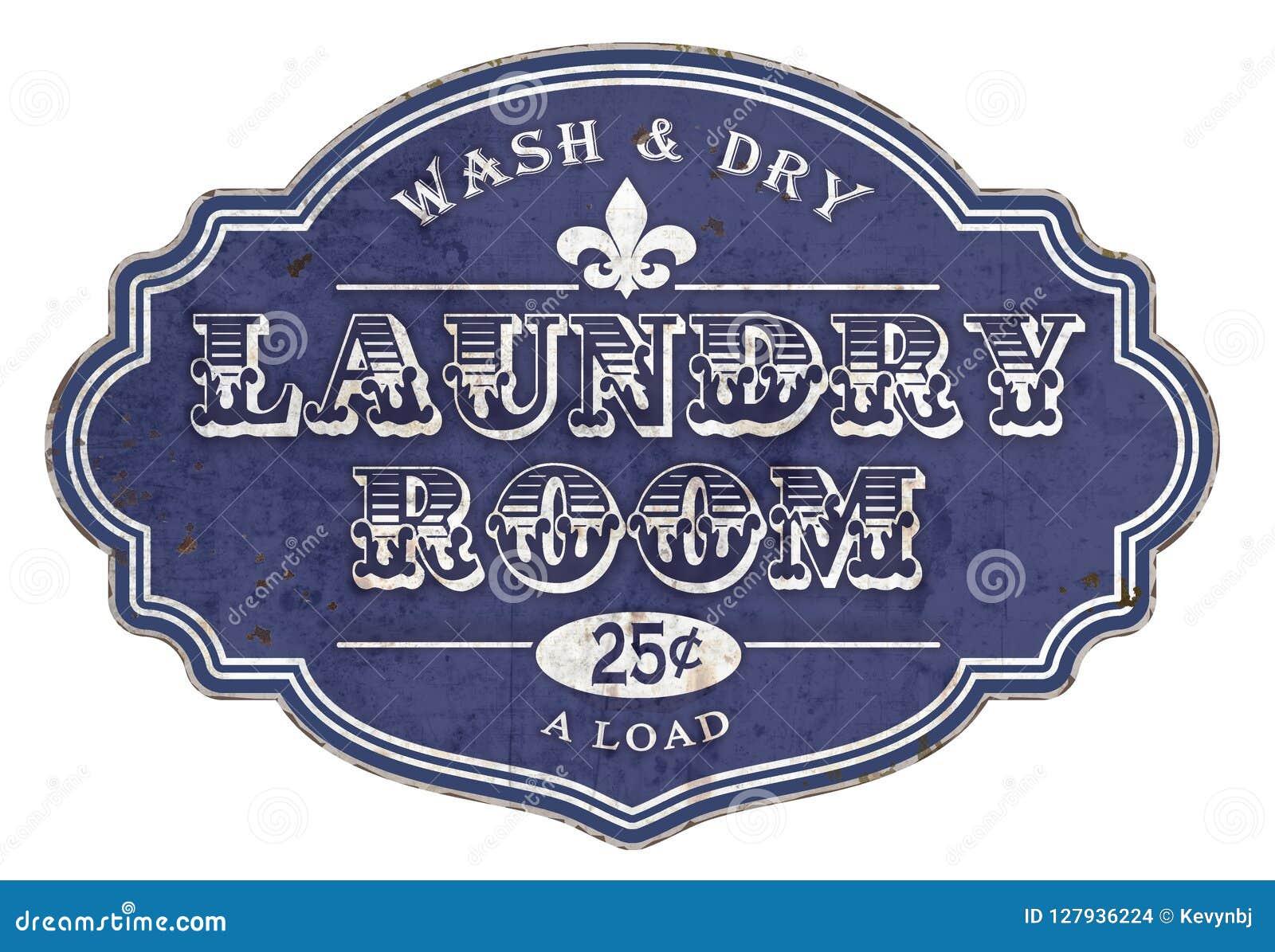 Vintage da chapa do sinal da lavandaria