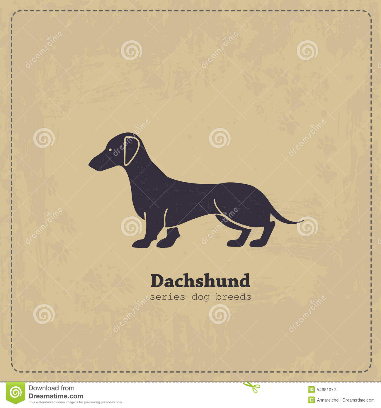 Vintage Dachshund Poster Stock Vector Image Of Bassotto