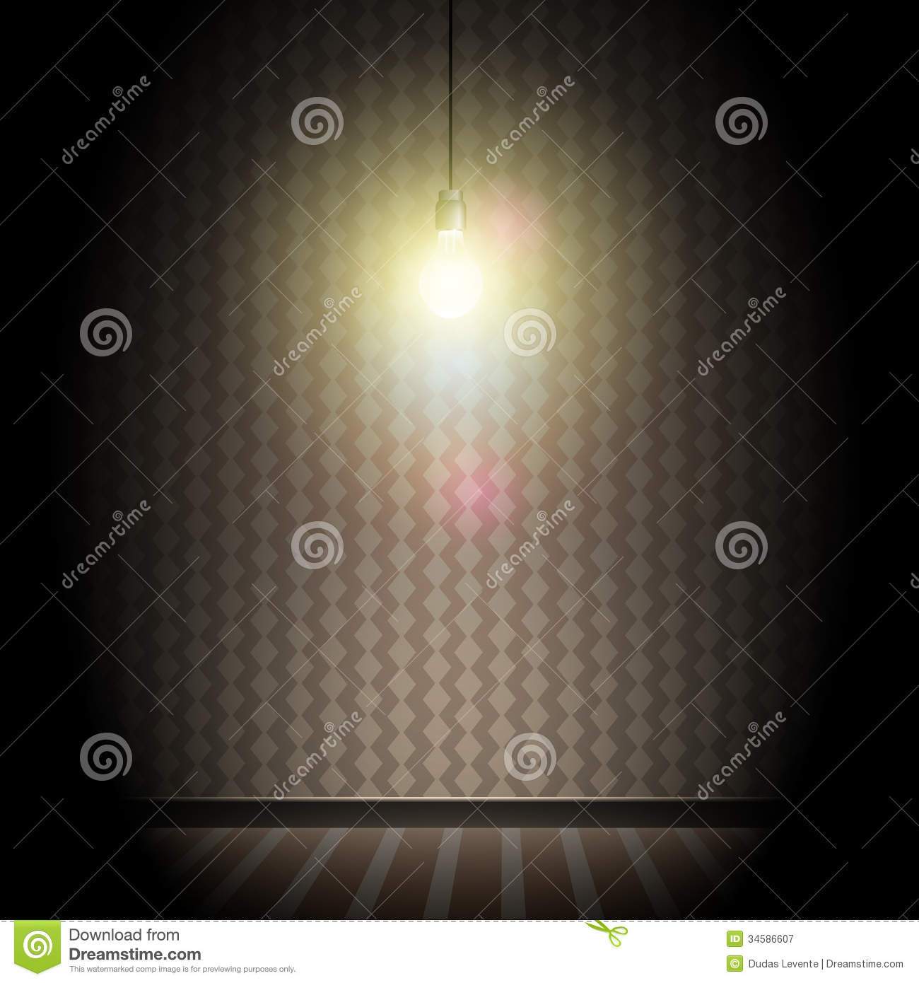 Dark room with light bulb - Vintage Dark Room With Bright Glowing Light Bulb