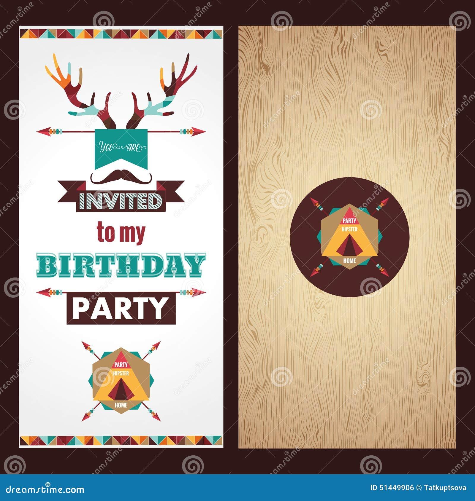 Vintage De La Invitación De La Tarjeta Del Feliz Cumpleaños