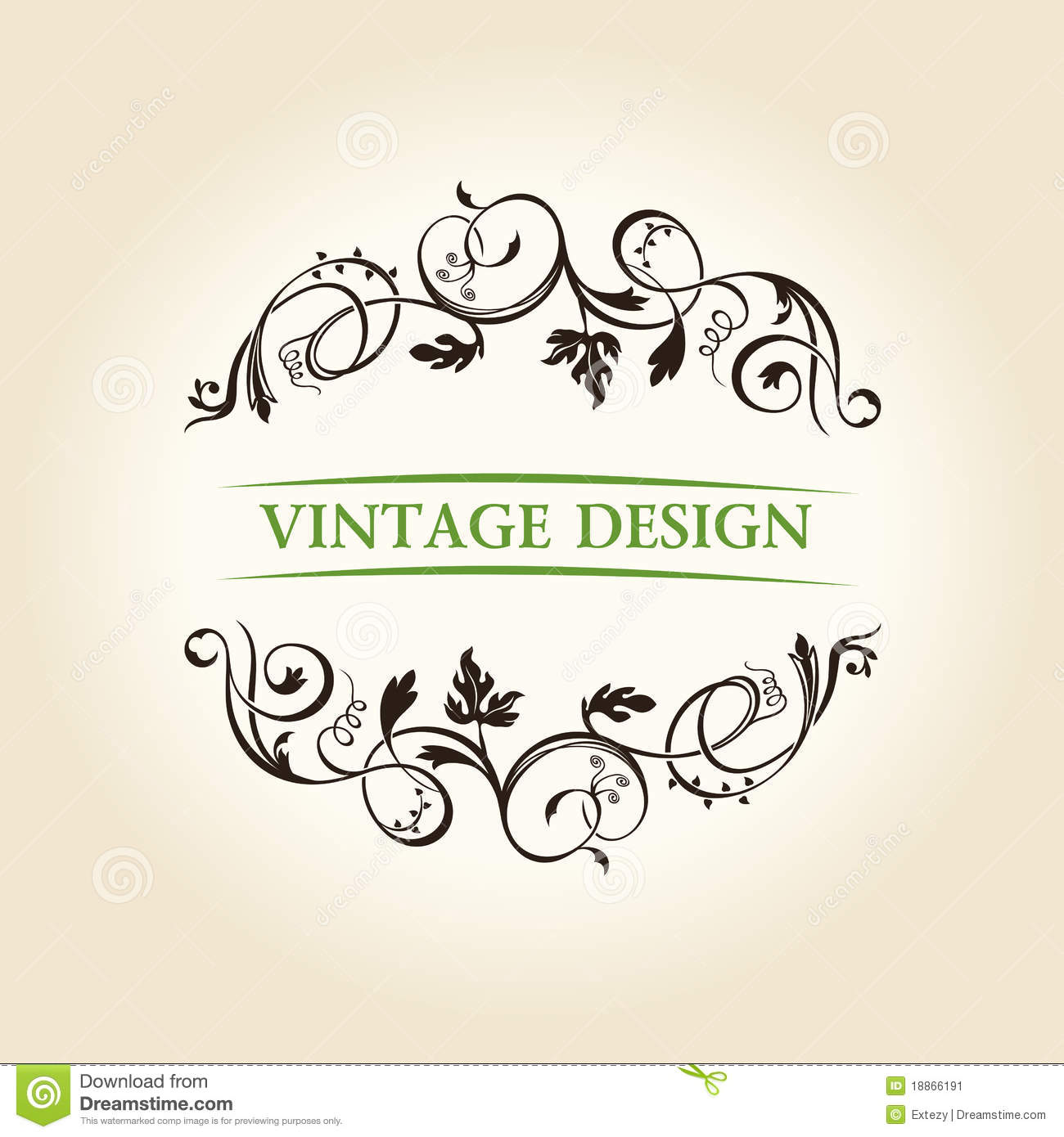 Vintage decor label ornament design emblem stock image for Art for decoration and ornamentation