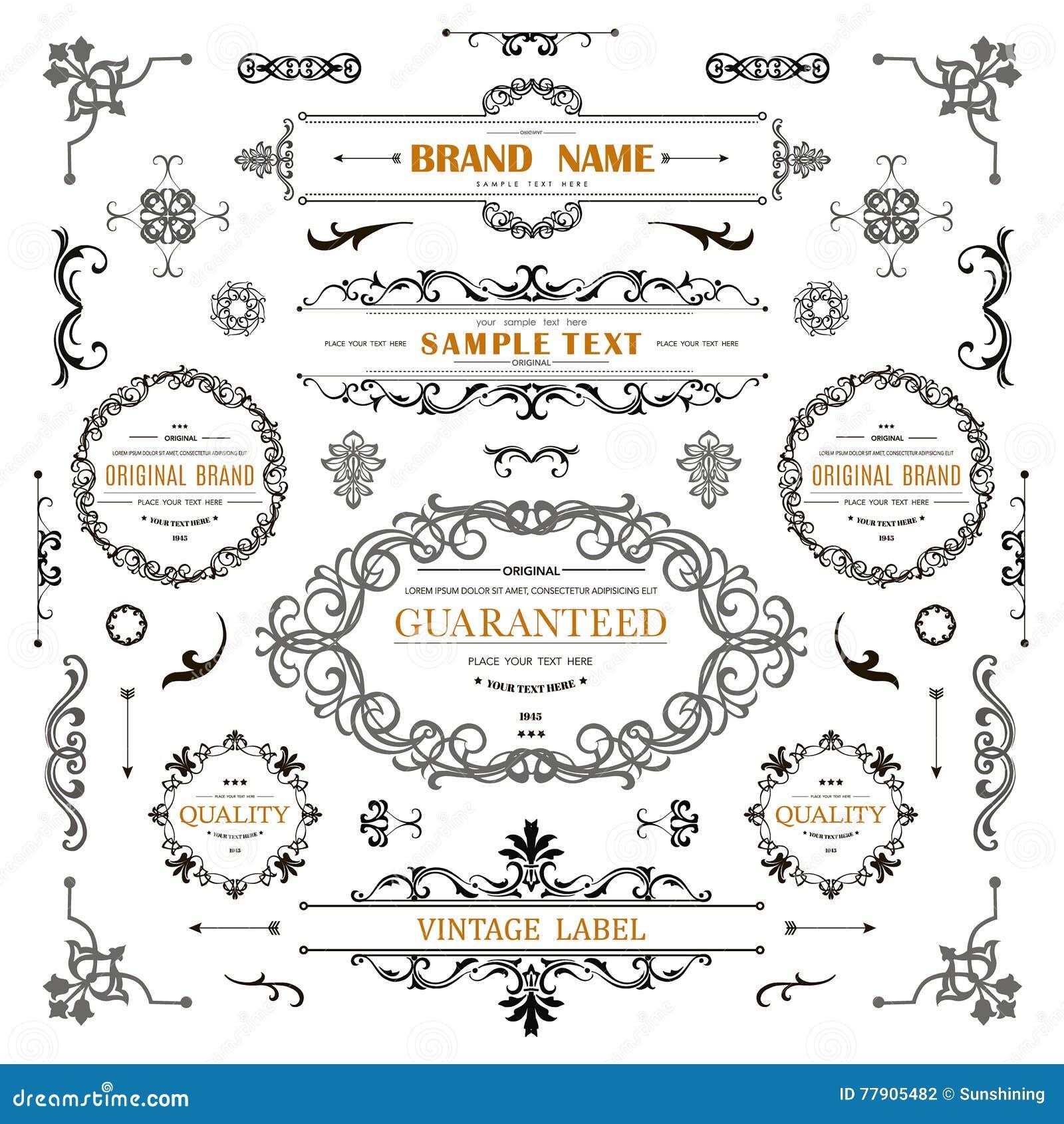 Vintage decorations curl elements.Classical calligraphic ornaments,frames,labels
