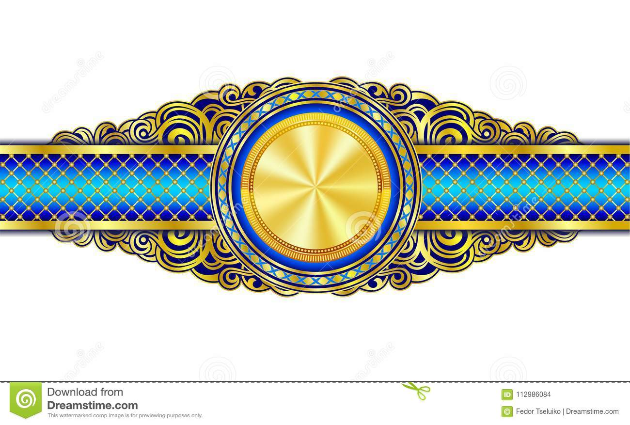 Vintage decorative banner with gold plated circle in the center