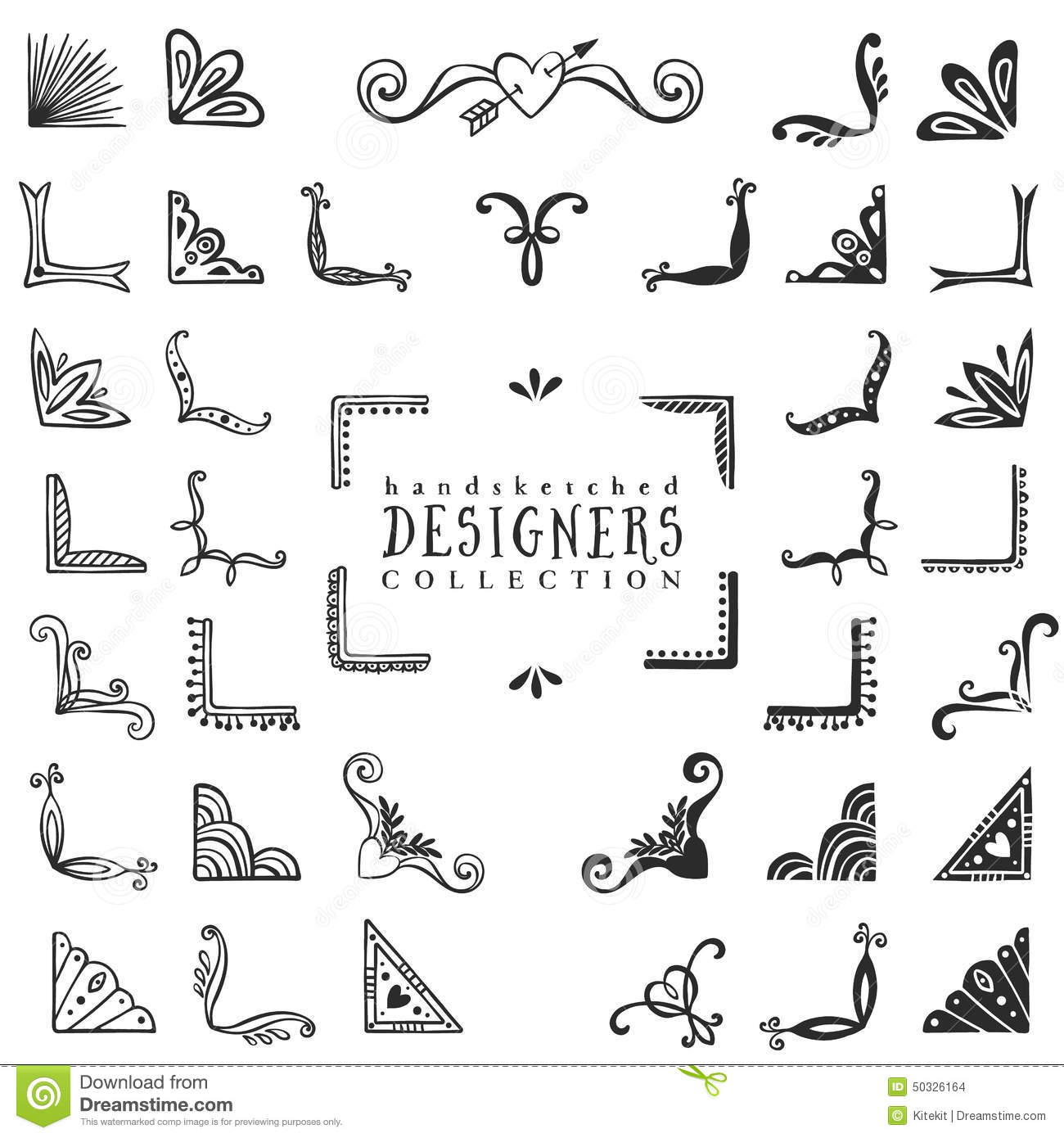 Vintage Decorative Corners Collection. Hand Drawn Vector Design Stock ...