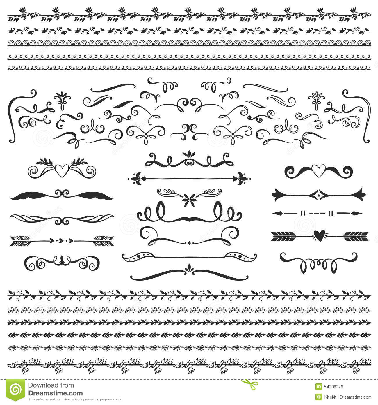 Vintage Decorative Curls And Swirls Collection. Hand Drawn ...