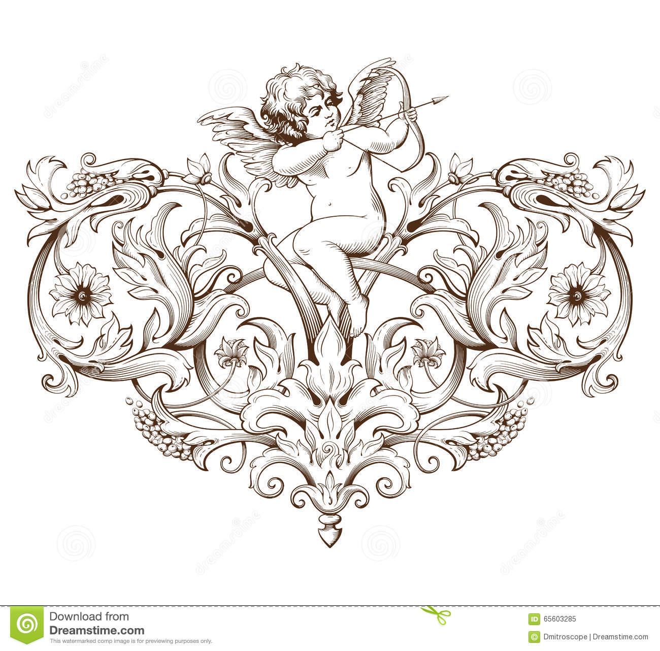 Vintage decorative element engraving with baroque ornament for Baroque design elements