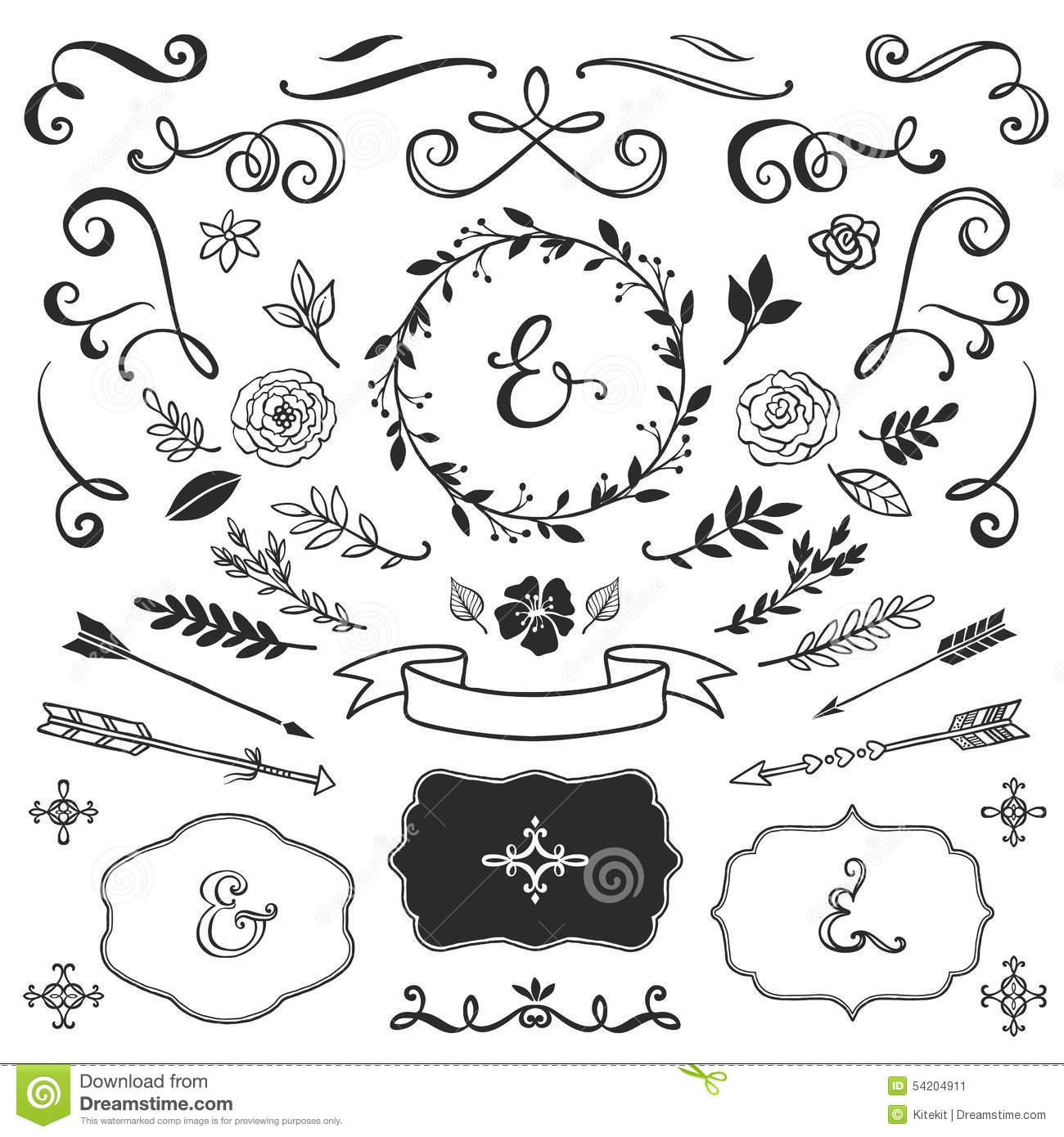 Vintage Decorative Elements With Lettering Hand Drawn Vector