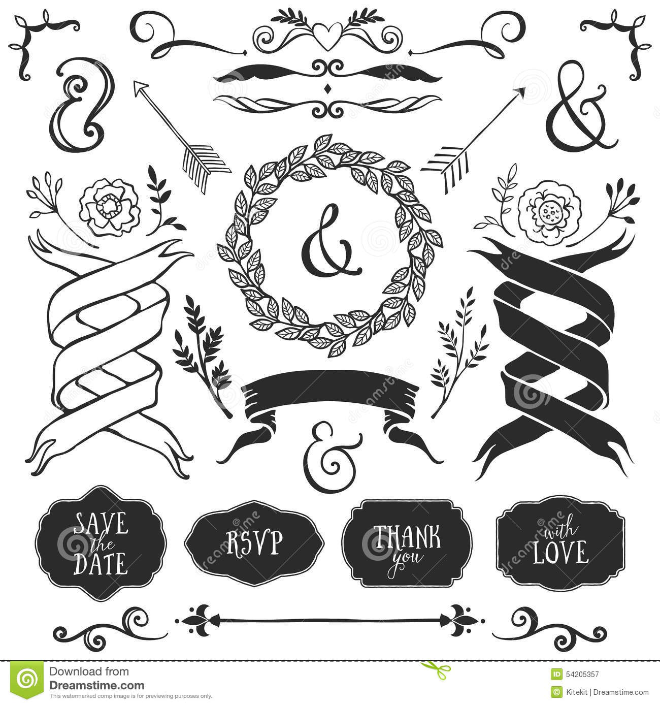 Vintage decorative elements with lettering hand drawn vector stock download comp junglespirit Gallery