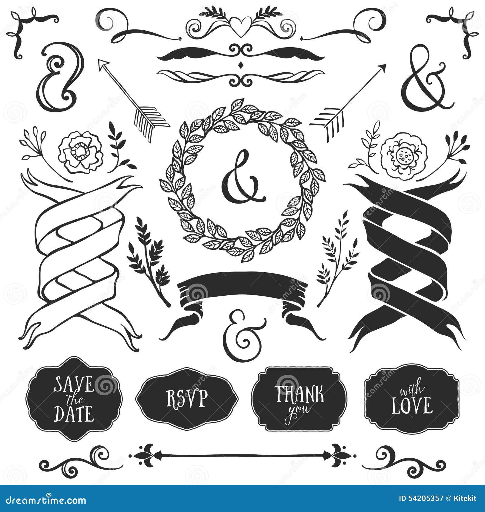 Vintage decorative elements with lettering hand drawn vector vintage decorative elements with lettering hand drawn vector junglespirit Choice Image