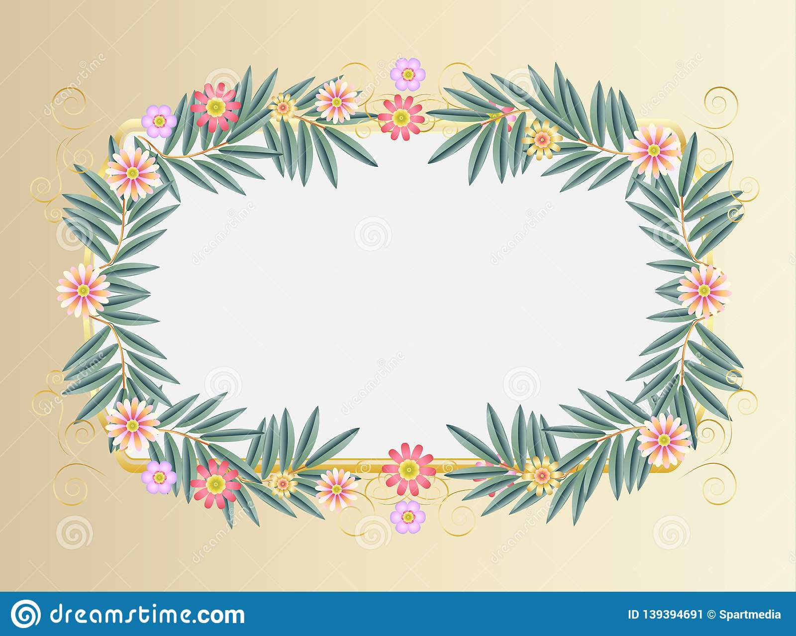 Vintage Decorative Floral Frame For Jewish Holiday Passover