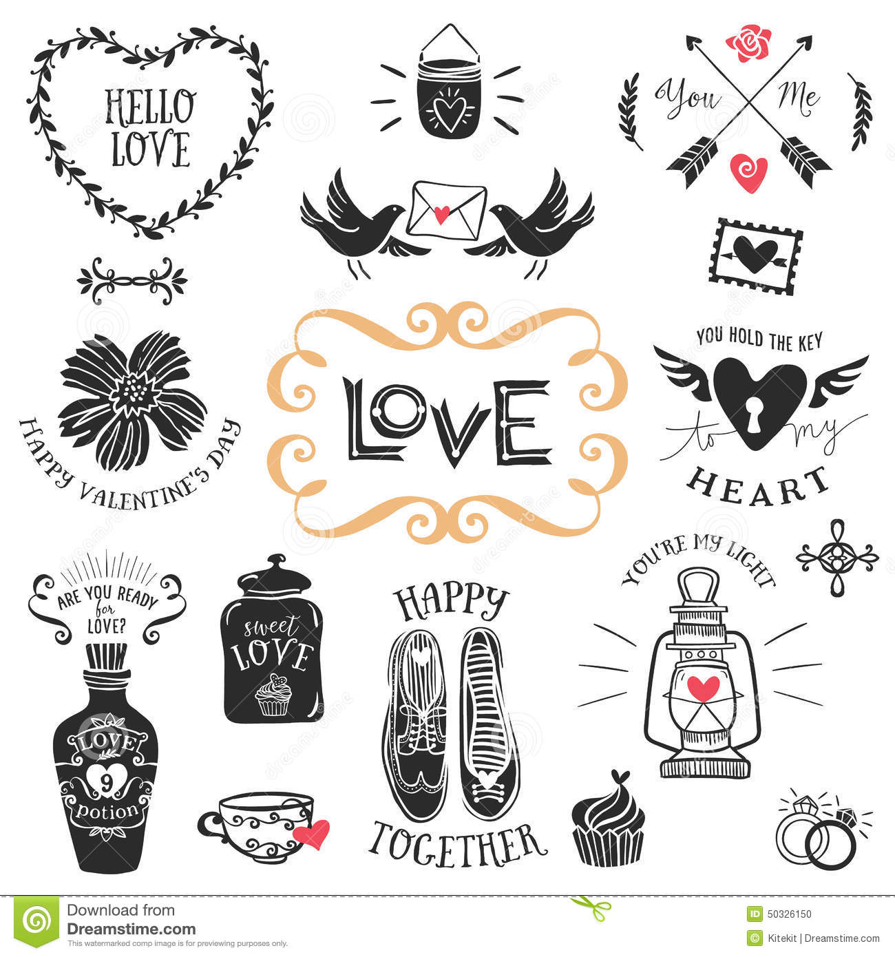 vintage decorative love badges with lettering hand drawn vector