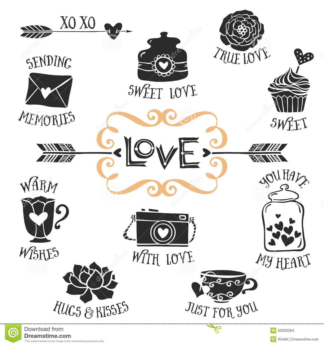Download Vintage Decorative Love Badges With Lettering. Hand Drawn Vector Stock Vector - Illustration of holiday, invitation: 50326264